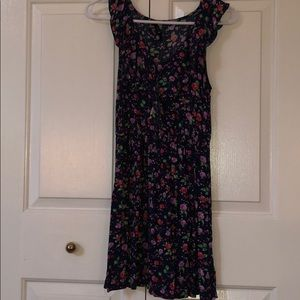 Navy blue, flower print dress